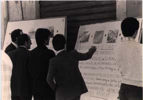 """Maggio 1978. Mostra """"Mafia e territorio"""". Il secondo da sinistra è Manuale Finazzo, fratello di Giuseppe (""""Percialino"""")"""